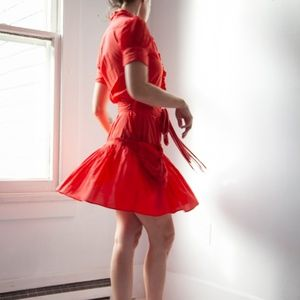 Red Marc Jacobs Ruffle Shirt Dress